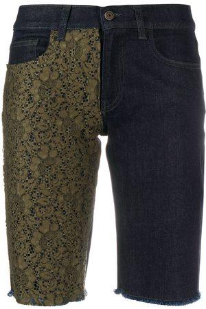 Mr & Mrs Italy Lace-embellished denim shorts