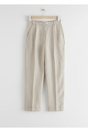& OTHER STORIES Women High Waisted - High Rise Belted Linen Trousers