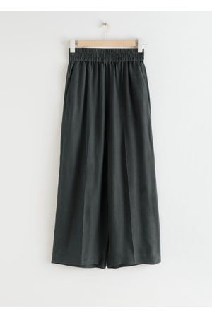 & OTHER STORIES Women Wide Leg - Wide Leg Cupro Blend Cropped Trousers