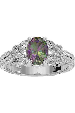 SuperJeweler Women Rings - 1 Carat Oval Shape Mystic Topaz & 8 Diamond Ring in (3.50 g)