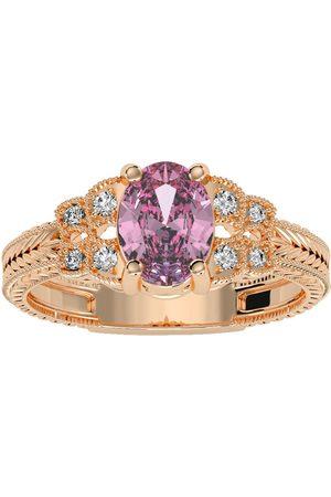SuperJeweler 1 Carat Oval Shape Pink Topaz & 8 Diamond Ring in (3.50 g)