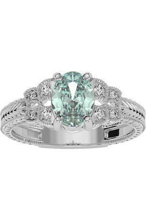 SuperJeweler Women Rings - 1 Carat Oval Shape Green Amethyst & 8 Diamond Ring in (3.50 g)