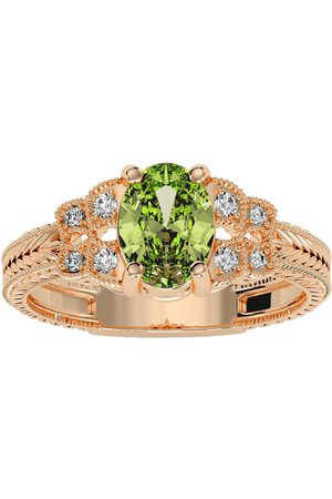SuperJeweler Women Rings - 1.5 Carat Oval Shape Peridot & 8 Diamond Ring in (3.50 g)