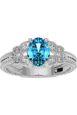 SuperJeweler Women Rings - 1 Carat Oval Shape Blue Topaz & 8 Diamond Ring in (3.50 g)