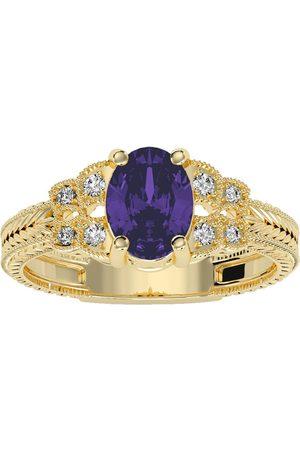 SuperJeweler Women Rings - 1 Carat Oval Shape Amethyst & 8 Diamond Ring in (3.50 g)