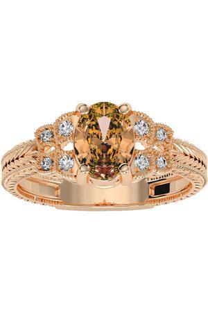 SuperJeweler Women Rings - 1 Carat Oval Shape Citrine & 8 Diamond Ring in (3.50 g)
