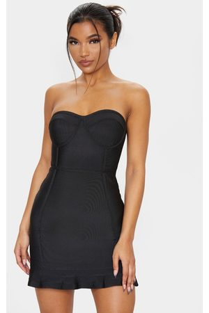 PRETTYLITTLETHING Bandage Frill Hem Bodycon Dress