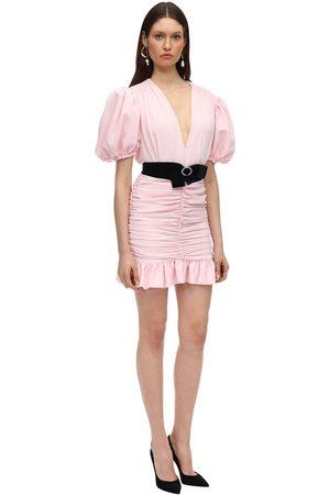 MARIANNA SENCHINA Crepe Mini Dress W/ Puff Sleeves
