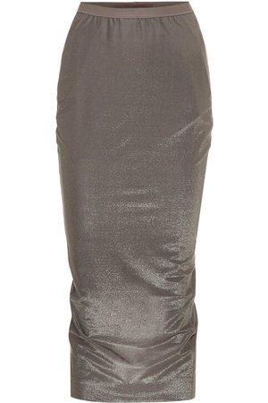Rick Owens Lilies high-rise metallic midi skirt