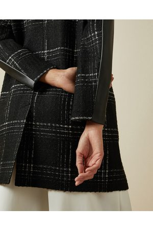 Ted Baker Women Leather Jackets - Faux Leather Sleeve Checked Coat