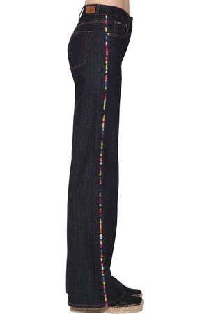 Polo Ralph Lauren Embroidered Wide Leg Dark Denim Jeans
