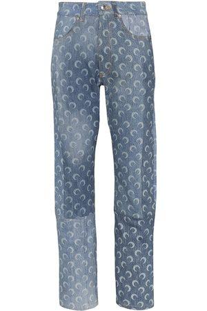 Marine Serre Women Straight - Moon print straight-leg jeans