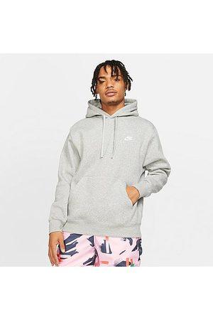 Nike Men Hoodies - Men's Sportswear Club Fleece Embroidered Hoodie in Grey Size X-Large