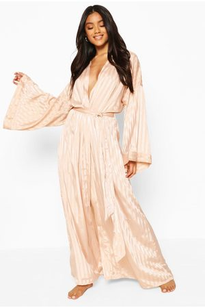 Boohoo Womens Tonal Satin Oversized Sleeve Robe - - S