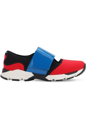 Marni Girls Sneakers - Leather & Neoprene Strap Sneakers