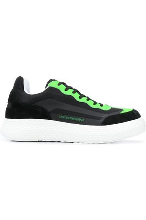 Emporio Armani Suede-panel chunky-sole neon trainers