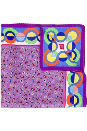 Etro Men Bow Ties - Contrast print silk pocket square