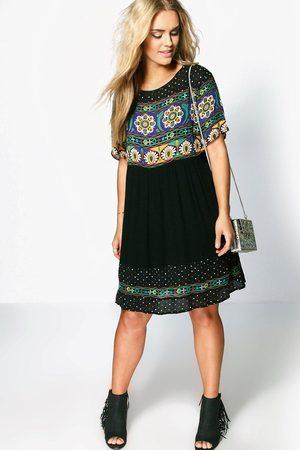 Boohoo Womens Plus Retro Print Smock Dress - - 12