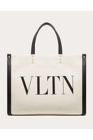 VALENTINO GARAVANI Women Tote Bags - Small Vltn Print Canvas Tote Bag Women Ivory Cotton 52%, Linen 43%, Polyurethane 5% OneSize