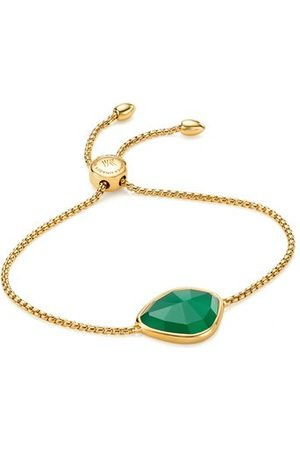 Monica Vinader Women Bracelets - Gold Siren Nugget Friendship Chain Bracelet Green Onyx
