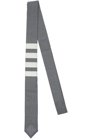 Thom Browne Men Neckties - Plain Wool Weave Engineered 4 Bar Tie