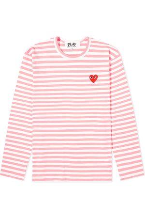 Comme des Garçons Men Long Sleeve - Comme des Garcons Play Long Sleeve Red Heart Stripe Tee