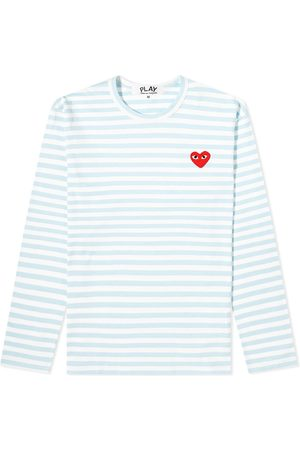 Comme des Garçons Men Long Sleeve - Comme des Garcons Play Long Sleeve Red Heart Stripe Tee