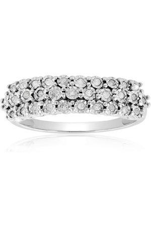 SuperJeweler .15 Carat Multi-row Diamond Ring in Sterling