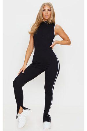 PRETTYLITTLETHING Zip Detail Sports Stripe Sleeveless Jumpsuit