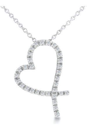 SuperJeweler Women Necklaces - Floating Diamond Heart Necklace in Sterling w/ 18 Inch Chain