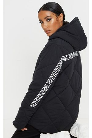 PRETTYLITTLETHING Peach Skin Diamond Quilted Oversized Puffer