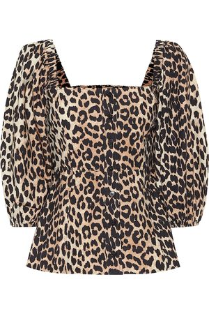Ganni Leopard-print cotton blouse
