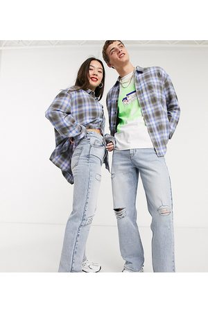 COLLUSION X000 Unisex ripped 90s straight leg jeans in stonewash