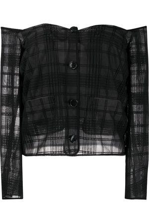 MARCO DE VINCENZO Women Strapless Tops - Off-shoulder sheer check blouse