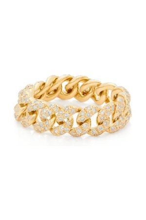 Shay Women Rings - Mini Link Diamond & 18kt Gold Ring - Womens - Crystal