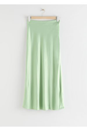 & OTHER STORIES Flowy Satin Midi Skirt