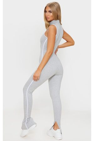 PRETTYLITTLETHING Grey Zip Detail Sports Stripe Sleeveless Jumpsuit