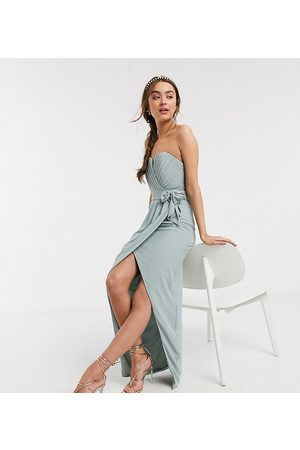 TFNC Women Strapless Dresses - Bridesmaid exclusive bandeau wrap midaxi dress with pleated detail in sage