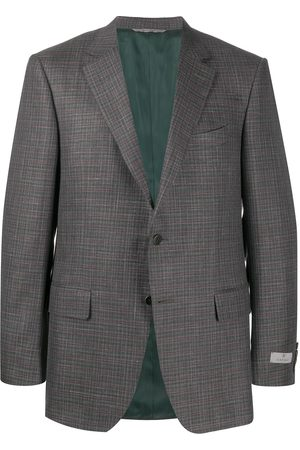 Canali Textured check patterned suit jacket - Grey