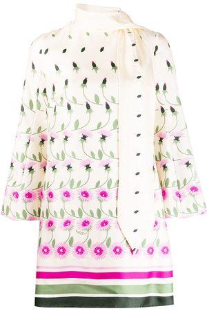 VALENTINO Tie-neck floral print dress - Neutrals