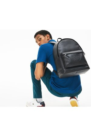 Lacoste Men's L.12.12 Casual Embossed Lettering Leather Backpack :