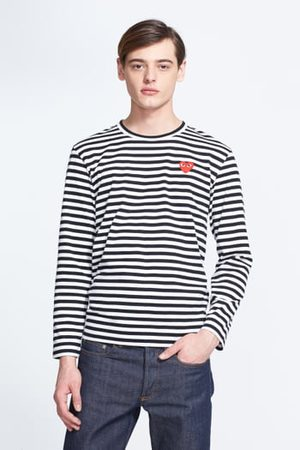 Comme des Garçons Men's Play Stripe Slim Fit Long Sleeve T-Shirt