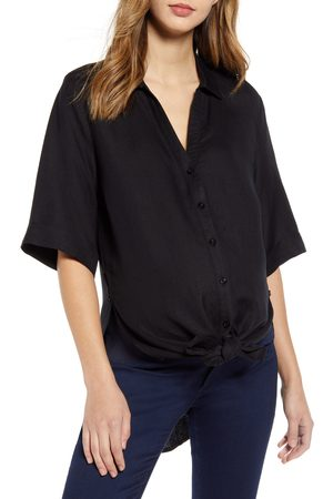 Angel Maternity Women's Tie Front Maternity Button-Up Shirt