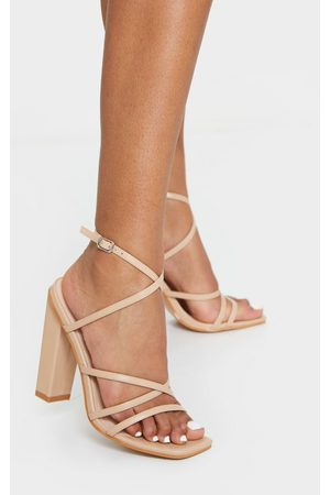 PRETTYLITTLETHING Women Sandals - Nude Chunky Heel Strappy Square Toe Heeled Sandals