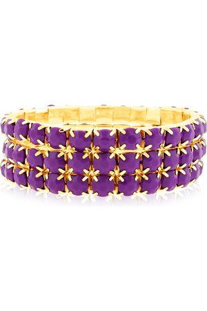SuperJeweler Set Of Three 60 Carat Purple Amethyst Crystal Bracelets