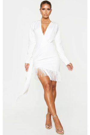 PRETTYLITTLETHING Women Bodycon Dresses - Long Sleeve Tassel Hem Drape Detail Bodycon Dress