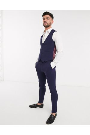 ASOS Super skinny suit suit vest in four way stretch in navy