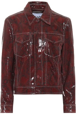 Ganni Snake-effect leather biker jacket