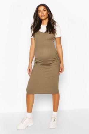 Boohoo Womens Maternity 2 In 1 T-Shirt Midi Dress - - 6