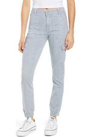 PROSPERITY DENIM Women Cargo Pants - Women's Stripe High Waist Cargo Pants